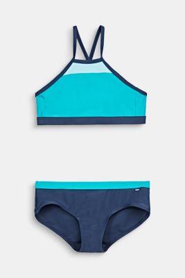 Crop top bikini with a colour block design, TURQUOISE, detail