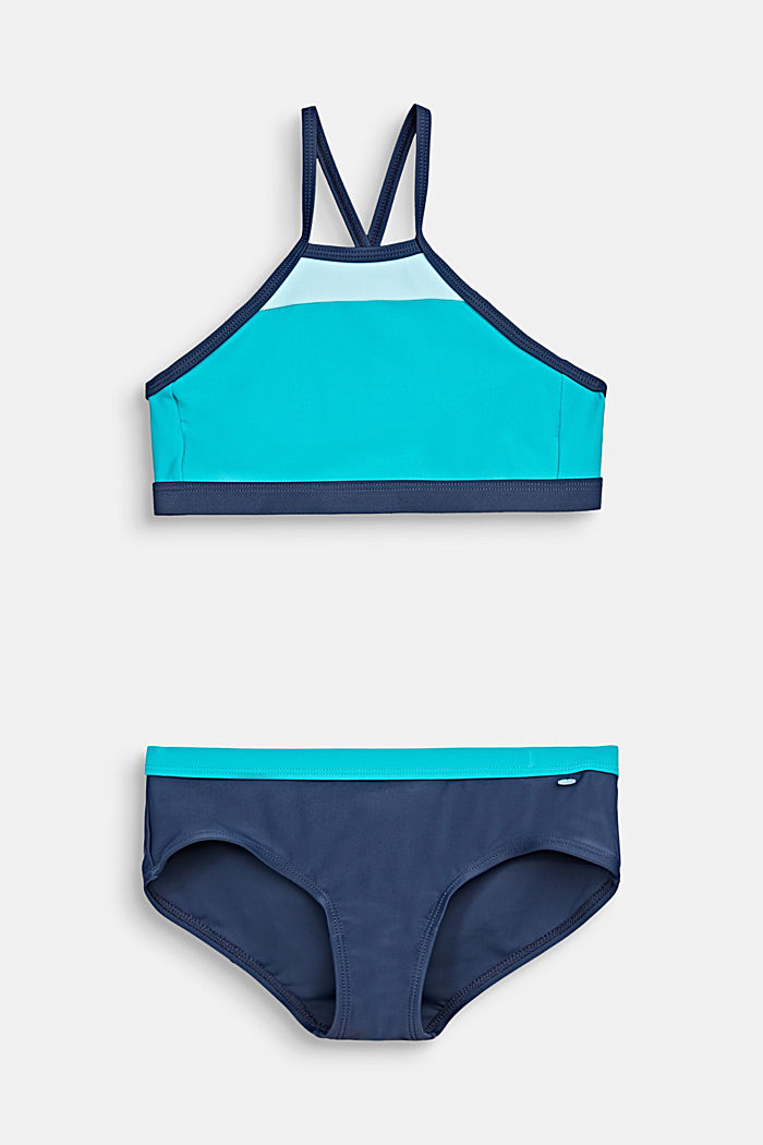 Crop top bikini with a colour block design