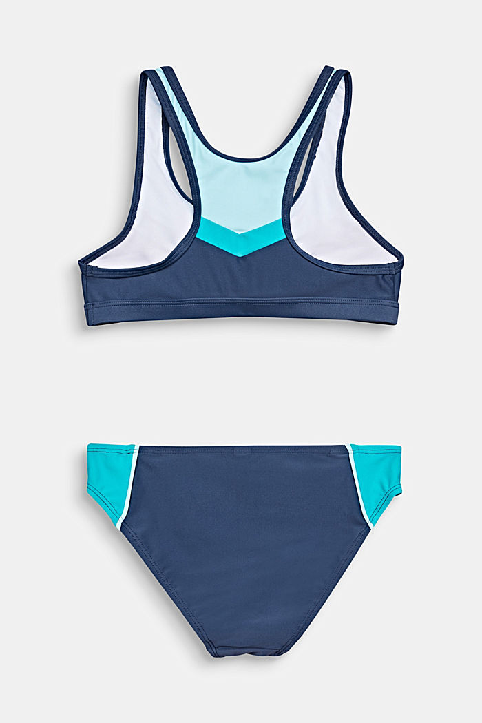 Bustier-Bikini mit Color Block, TURQUOISE, detail image number 1