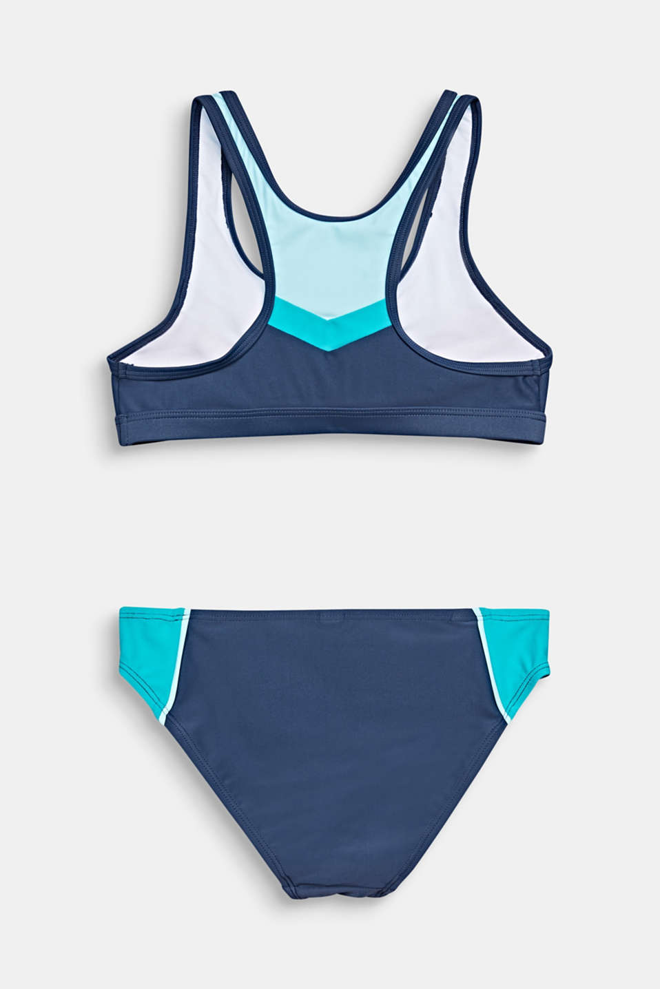 Crop top bikini with a colour block design, TURQUOISE, detail image number 1