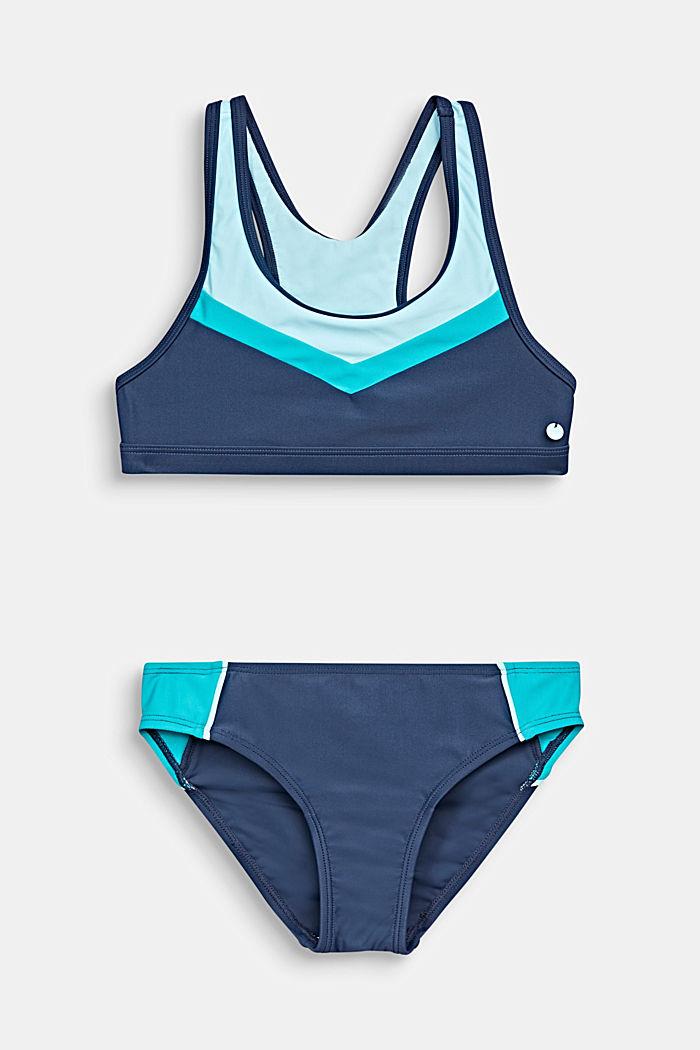Bustier-Bikini mit Color Block, TURQUOISE, detail image number 0