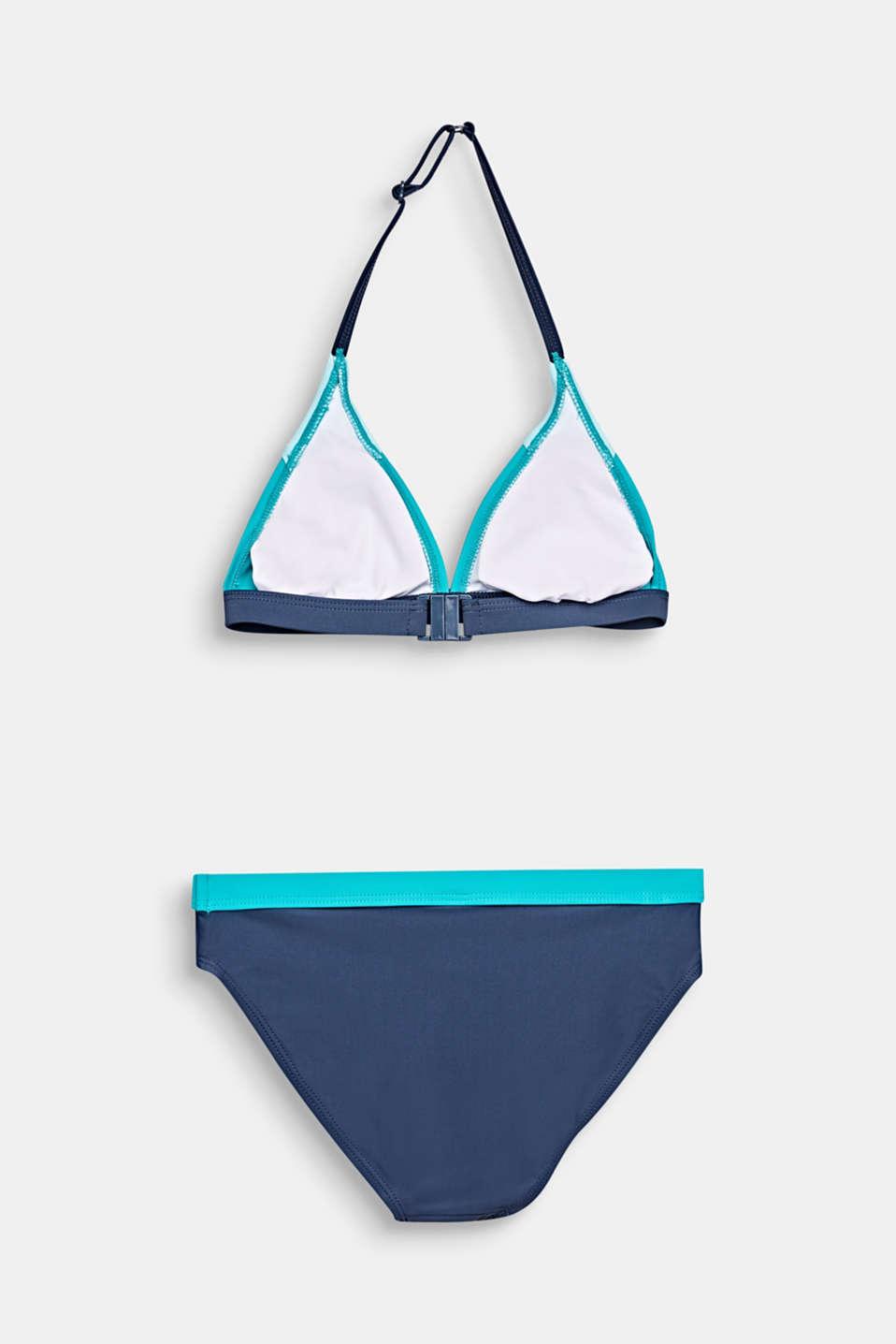Padded halterneck bikini, TURQUOISE, detail image number 1