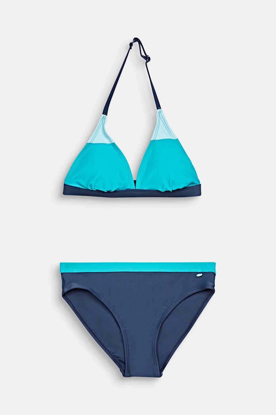 Padded halterneck bikini, TURQUOISE, detail image number 0