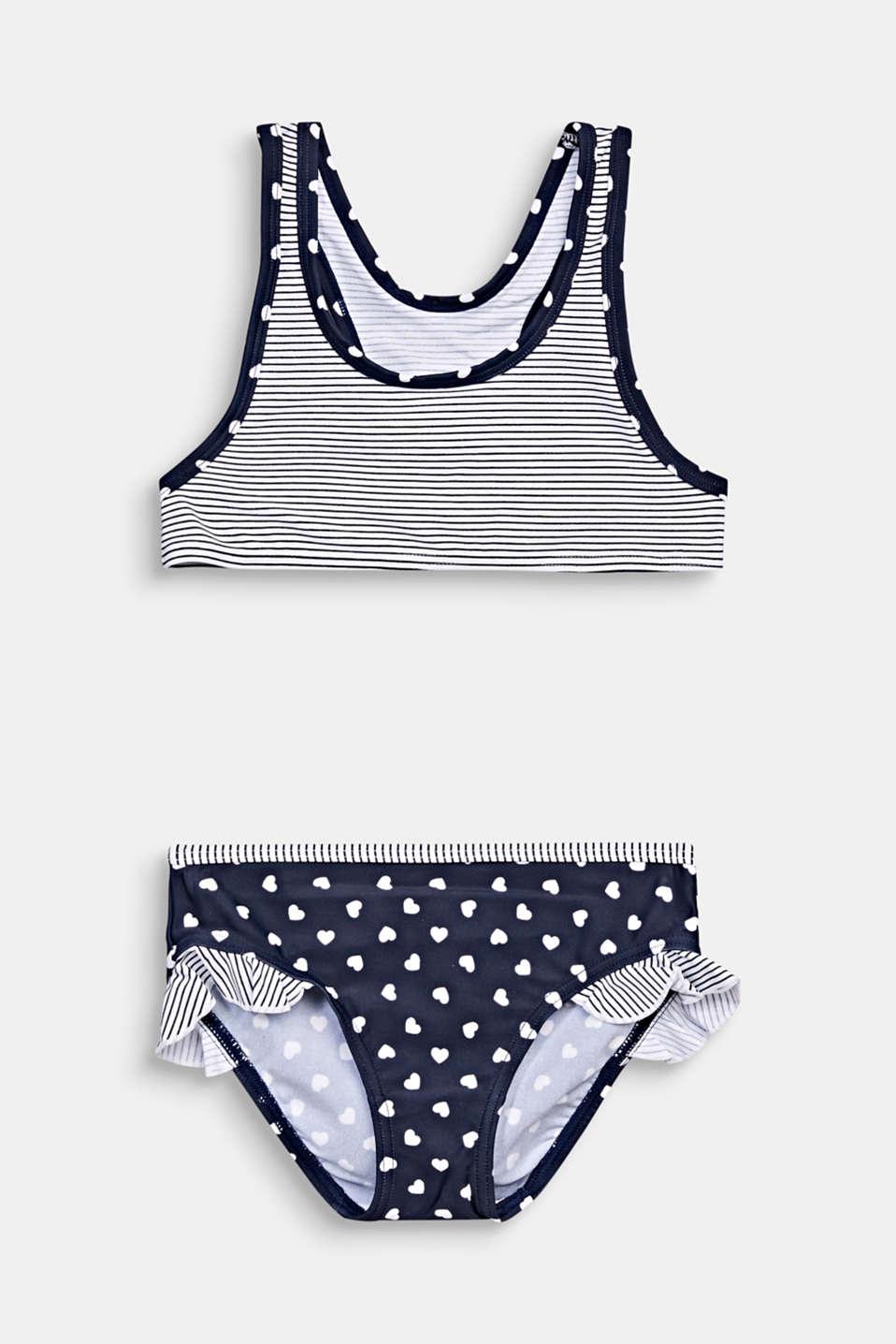 Mixed pattern crop top bikini, NAVY 2, detail image number 0