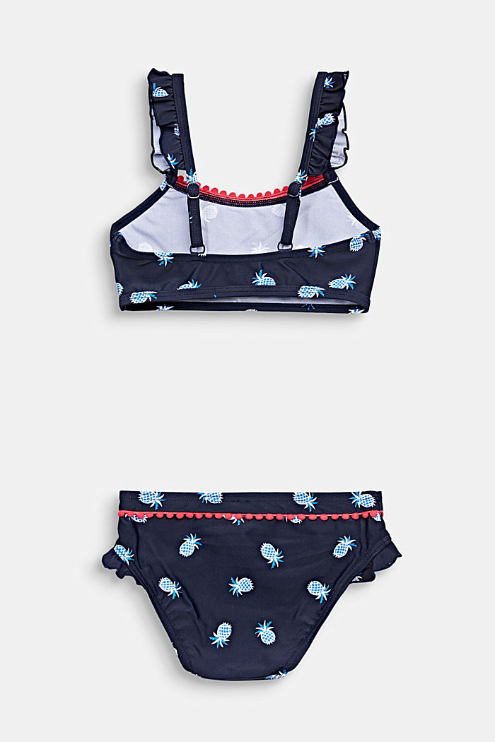 Crop top bikini with a pineapple print, NAVY, detail image number 1