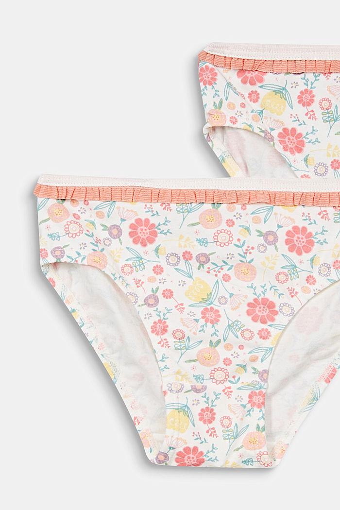 2er-Pack Slips mit Blumen-Print, OFF WHITE, detail image number 1