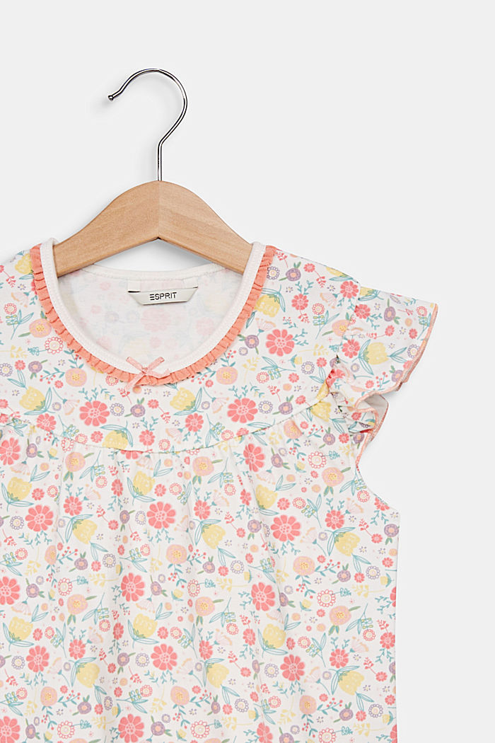 Night shirt with a floral print, OFF WHITE, detail image number 2