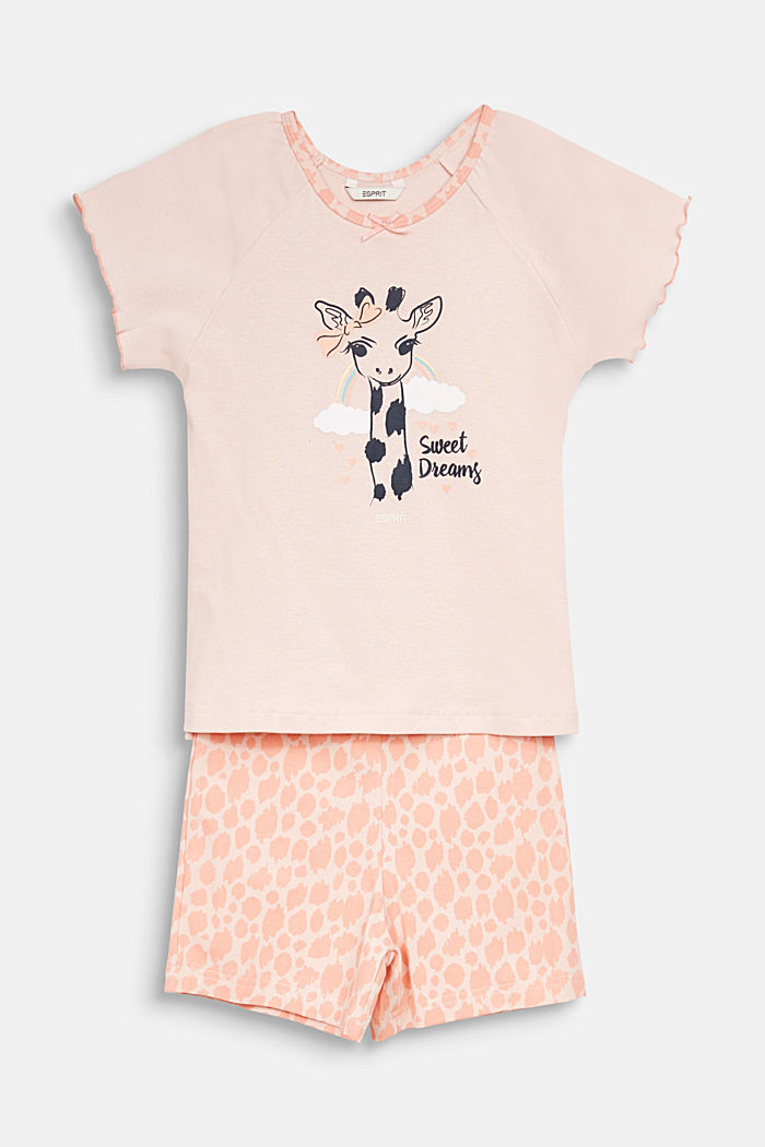 Jersey pyjamas with a giraffe print, NUDE, overview