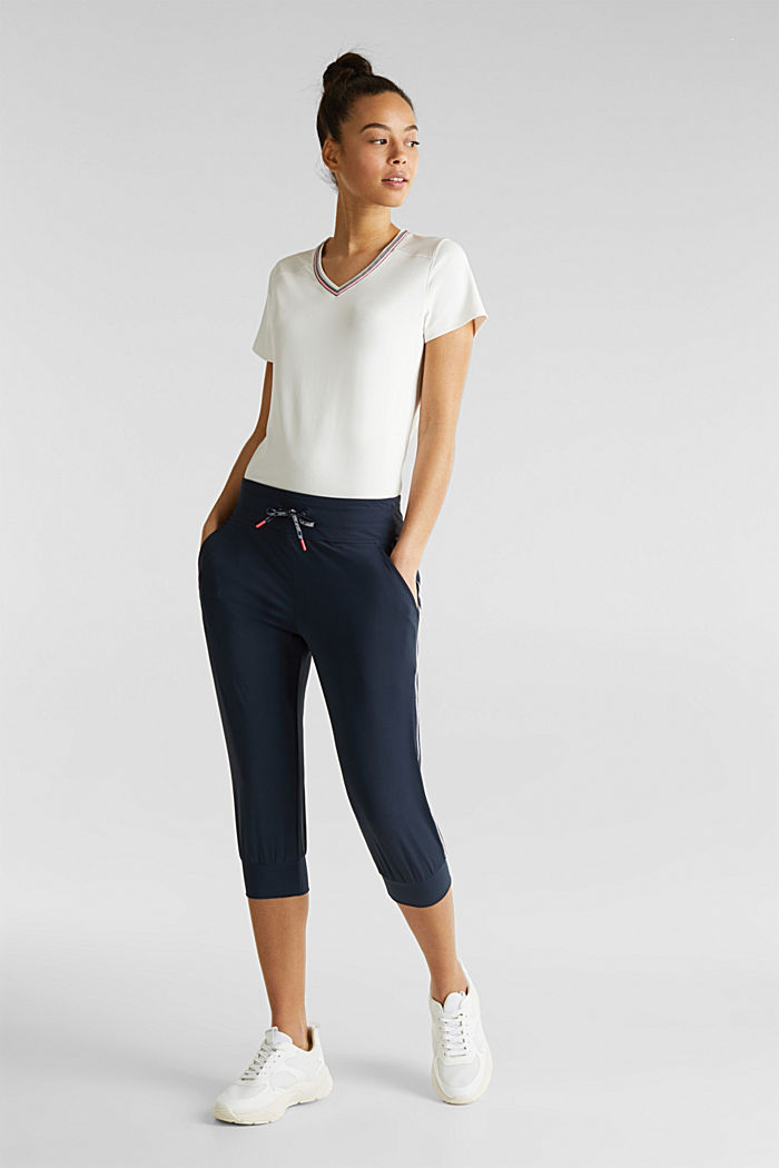 Capri trousers with striped tape, E-DRY, NAVY, detail image number 0