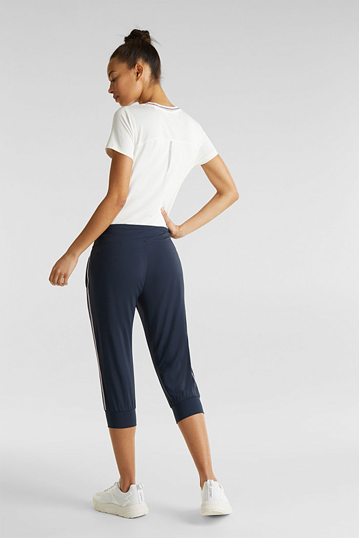 Capri trousers with striped tape, E-DRY, NAVY, detail image number 2