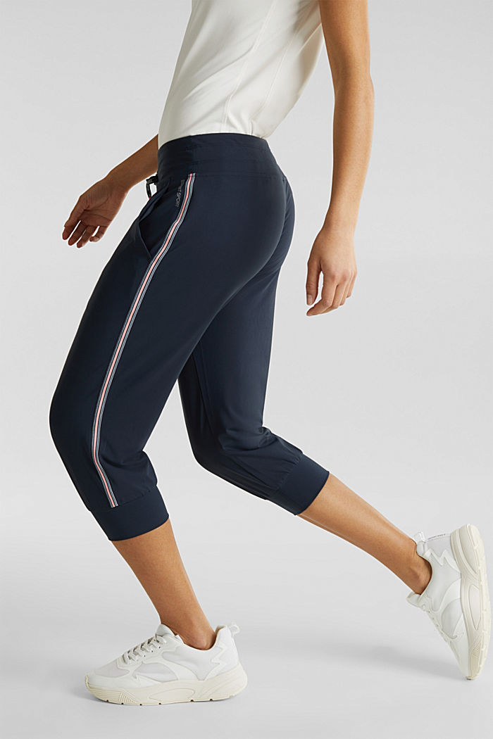 Capri trousers with striped tape, E-DRY, NAVY, detail image number 5