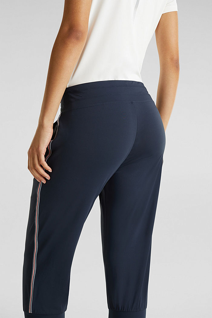 Capri trousers with striped tape, E-DRY, NAVY, detail image number 4