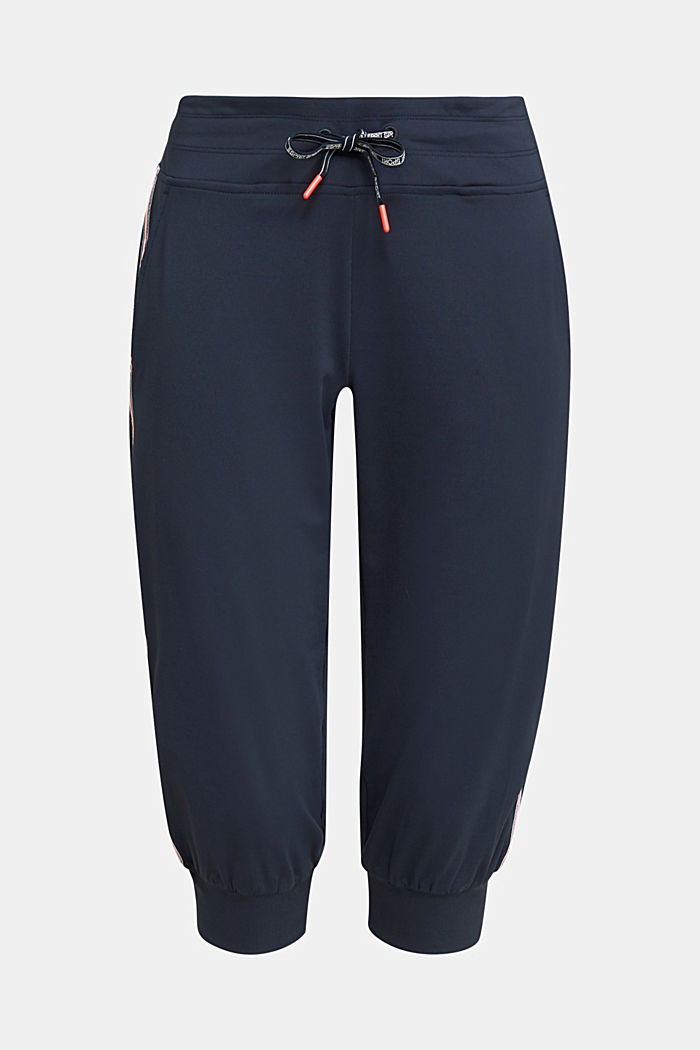 Capri trousers with striped tape, E-DRY, NAVY, detail image number 6