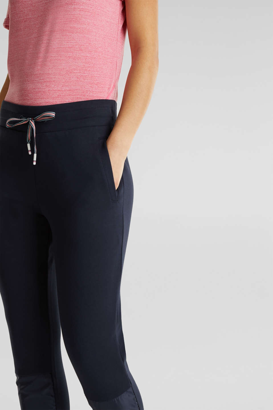 Tracksuit bottoms with nylon inserts, NAVY 2, detail image number 1