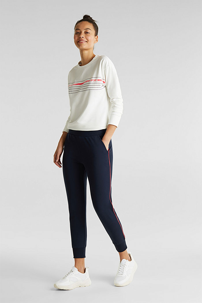 Tracksuit bottoms with contrast piping, NAVY, detail image number 0