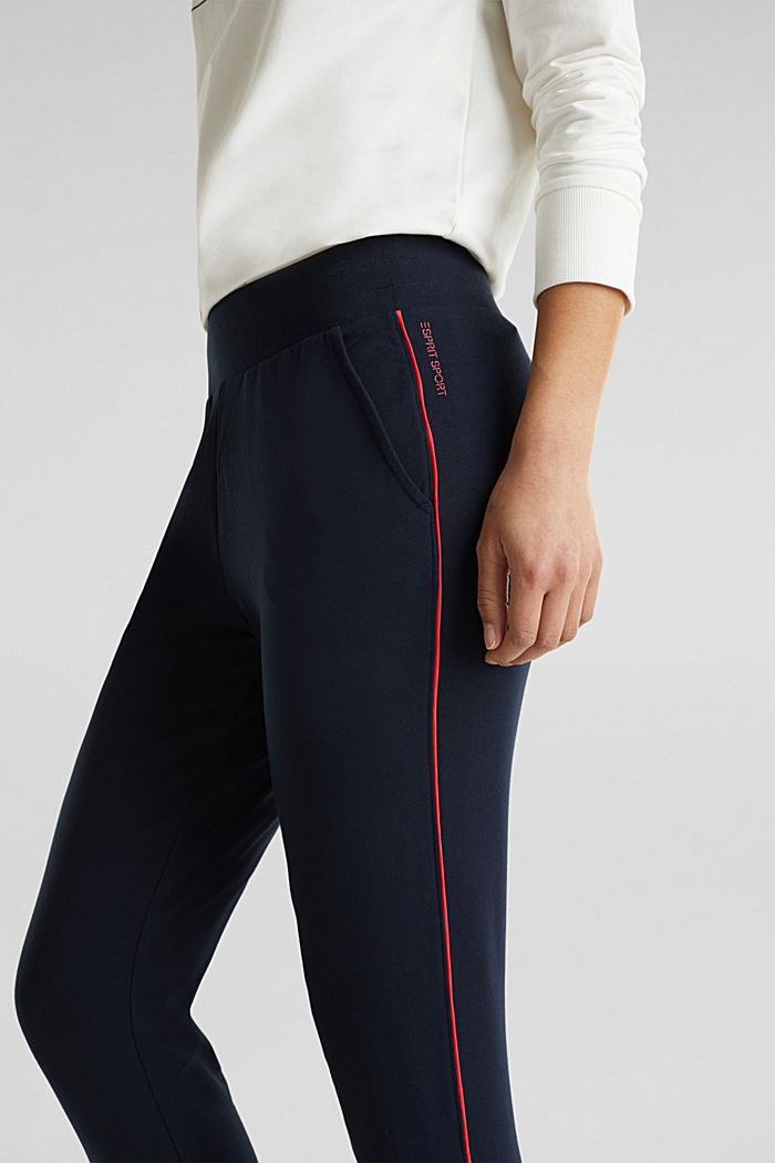 Tracksuit bottoms with contrast piping, NAVY, detail image number 1
