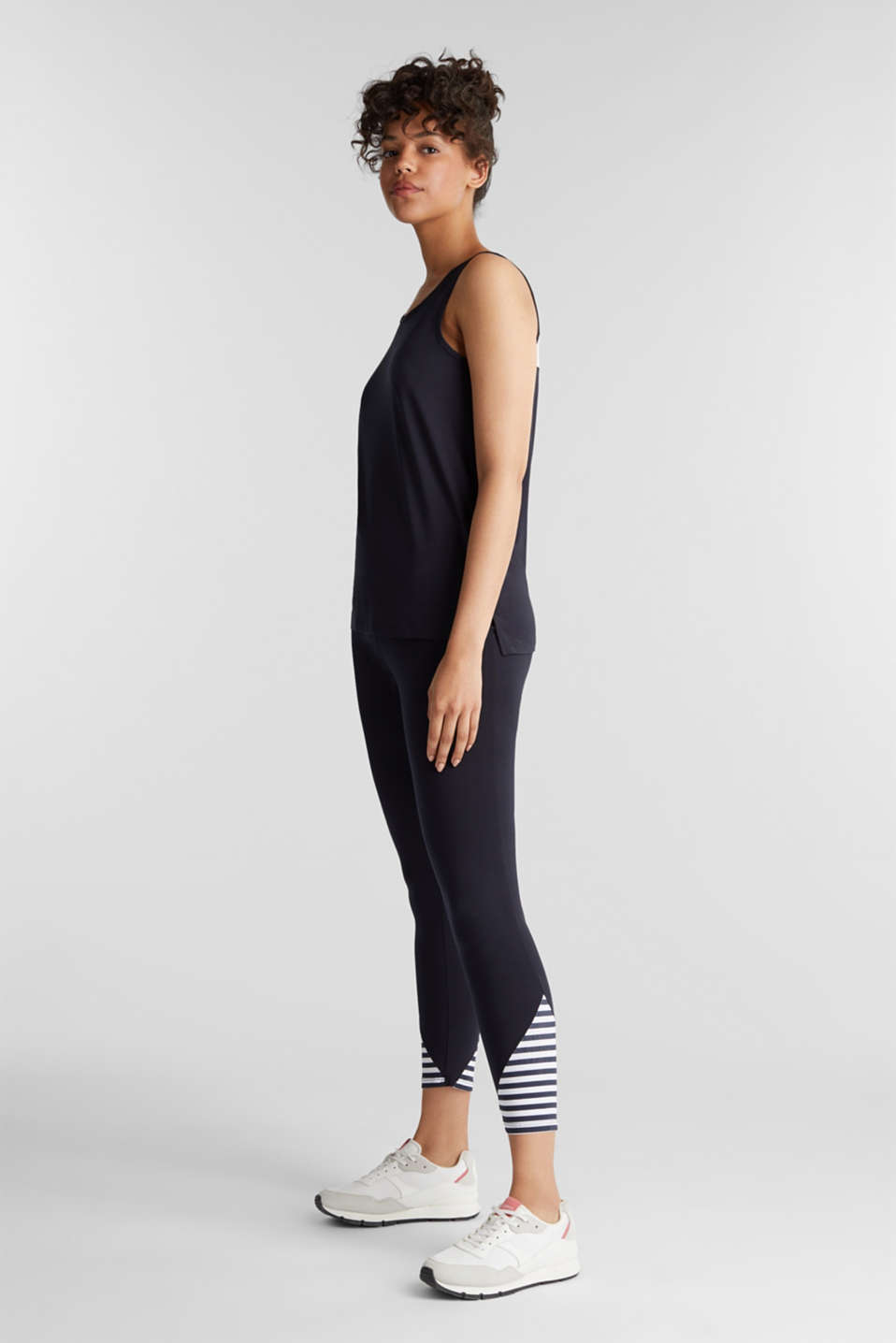 Leggings with stripes and organic cotton, NAVY 2, detail image number 1