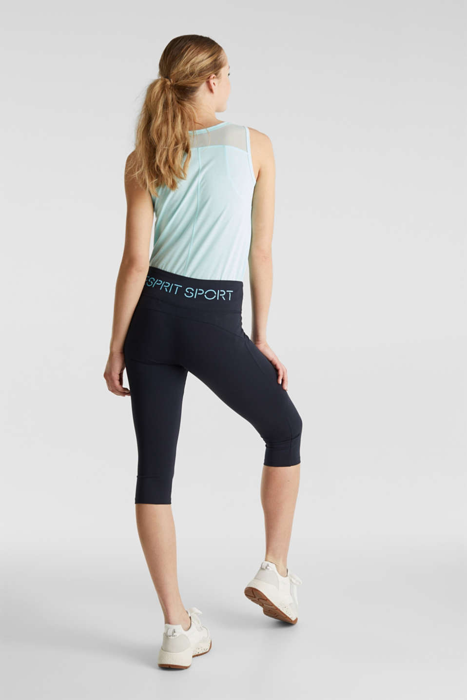 Cropped leggings with organic cotton, NAVY 2, detail image number 2