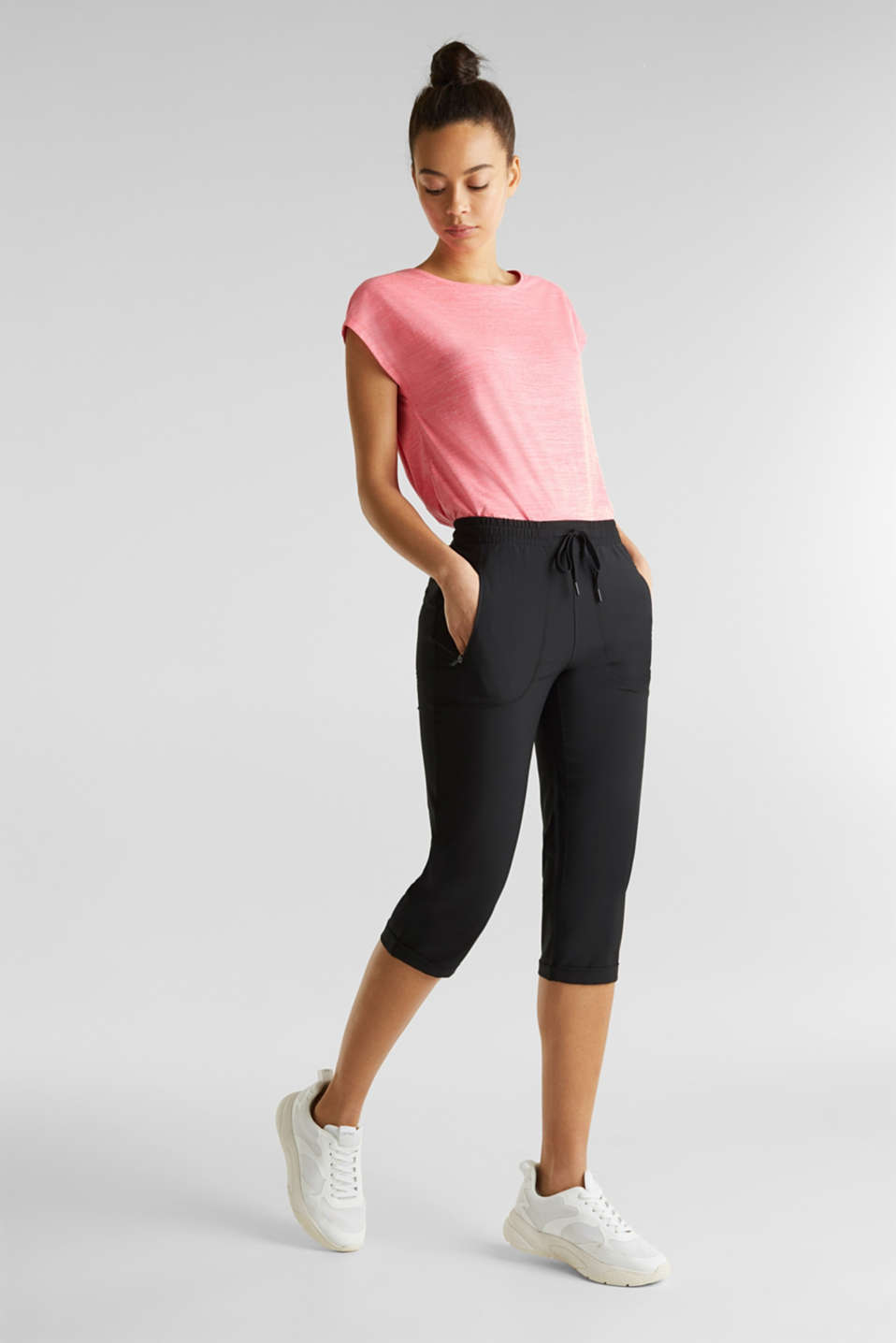 Esprit - Woven capris with turned-up hems, edry