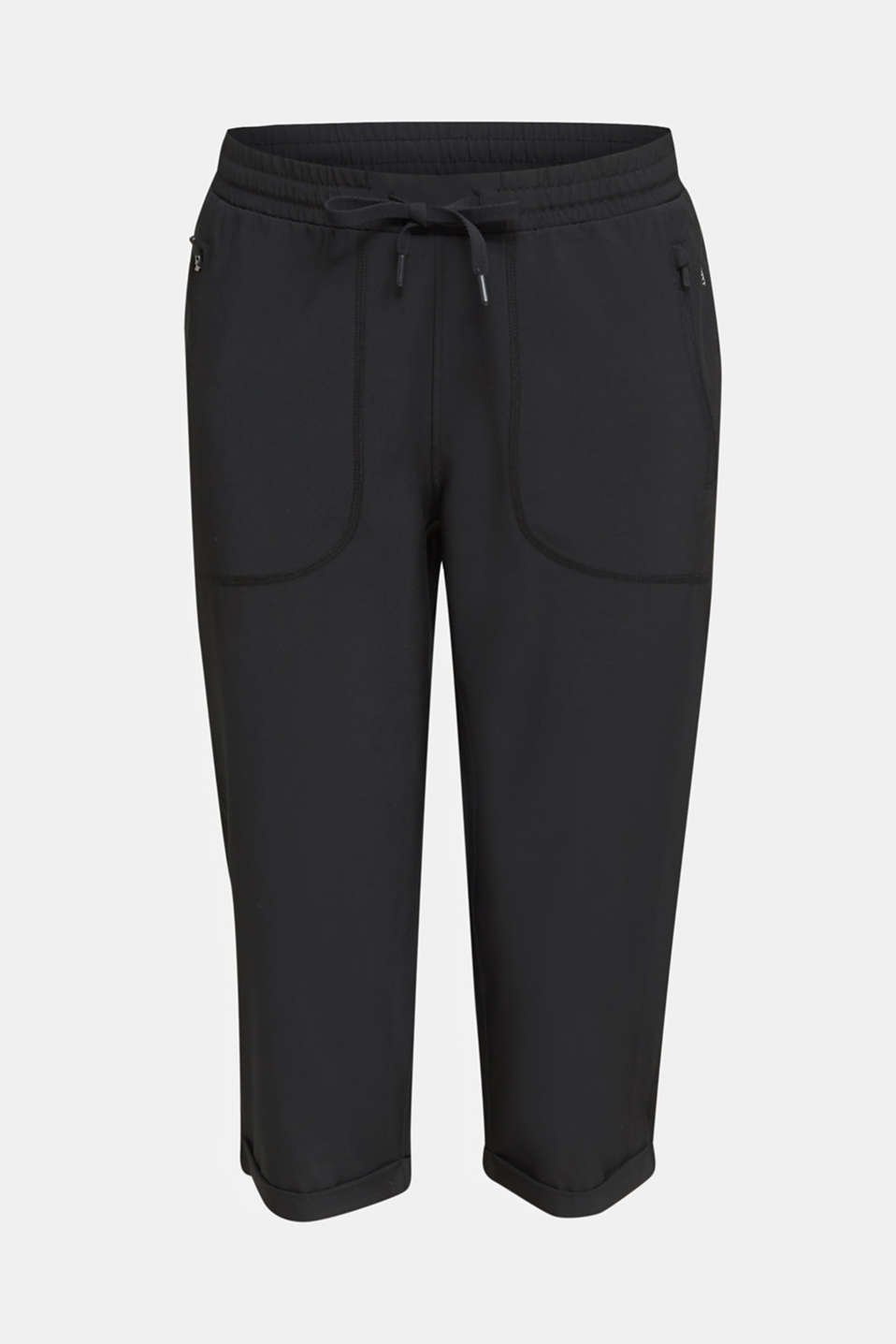 Woven capris with turned-up hems, edry, BLACK, detail image number 4