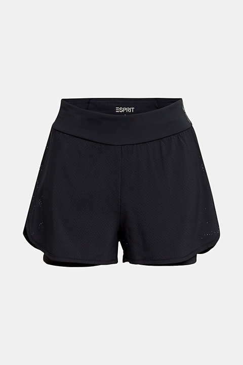 2-in-1: layered shorts made of mesh, edry