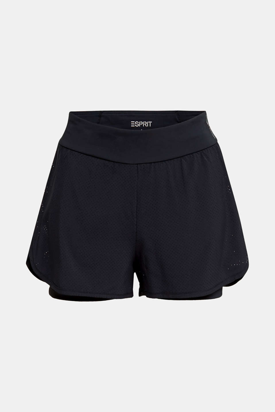 2-in-1: layered shorts made of mesh, edry, BLACK, detail image number 5