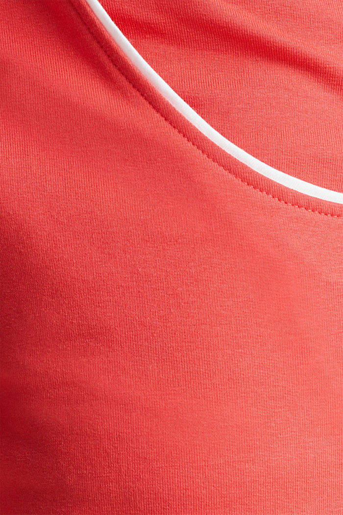 Sweatshirt fabric shorts with piping, CORAL, detail image number 3
