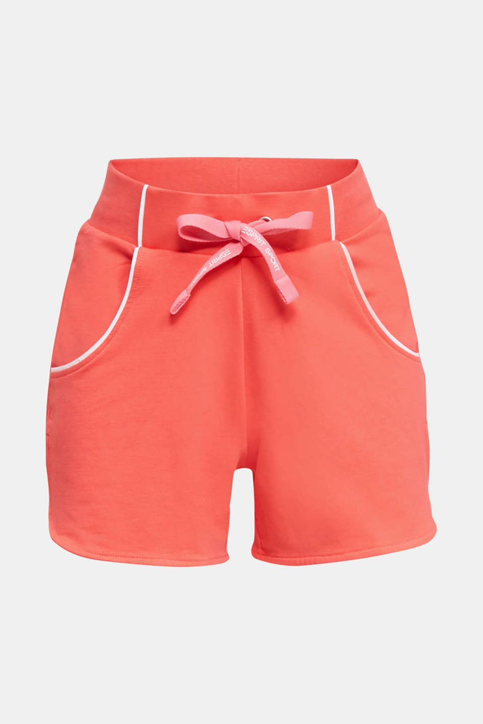 Sweatshirt fabric shorts with piping, CORAL, detail image number 4