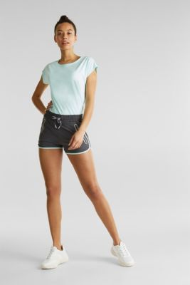 Shorts with shiny trims, E-DRY, ANTHRACITE, detail