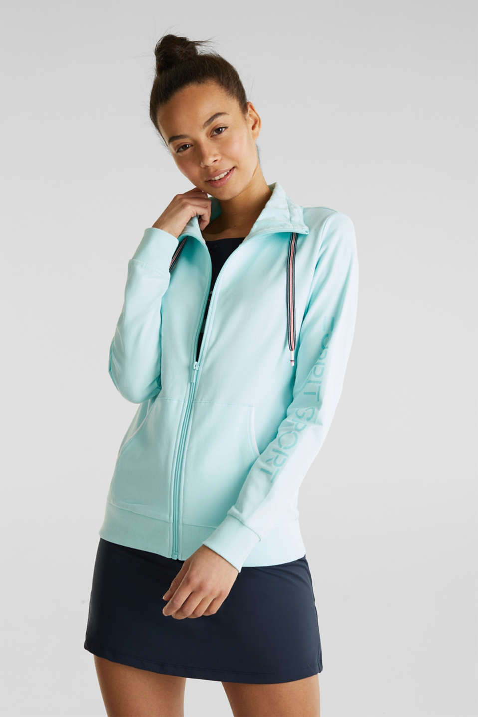 Sweatshirt fabric cardigan with a drawstring collar, TURQUOISE, detail image number 0