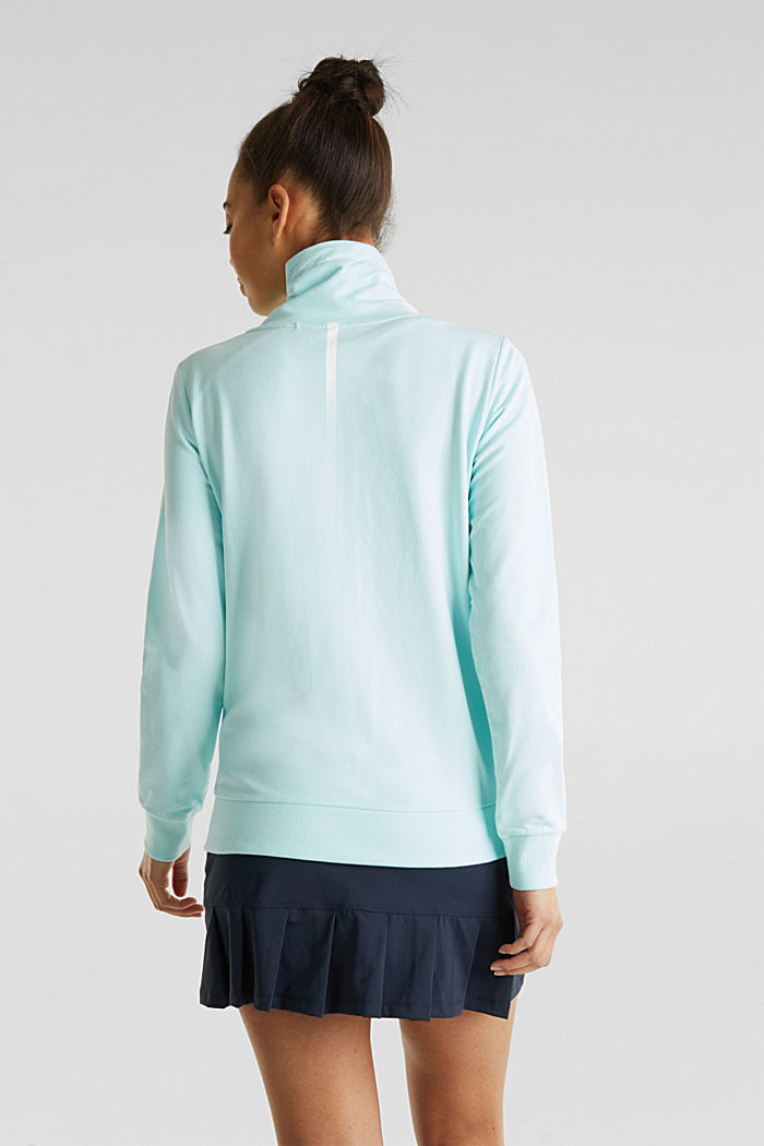 Sweatshirt fabric cardigan with a drawstring collar, TURQUOISE, detail image number 2