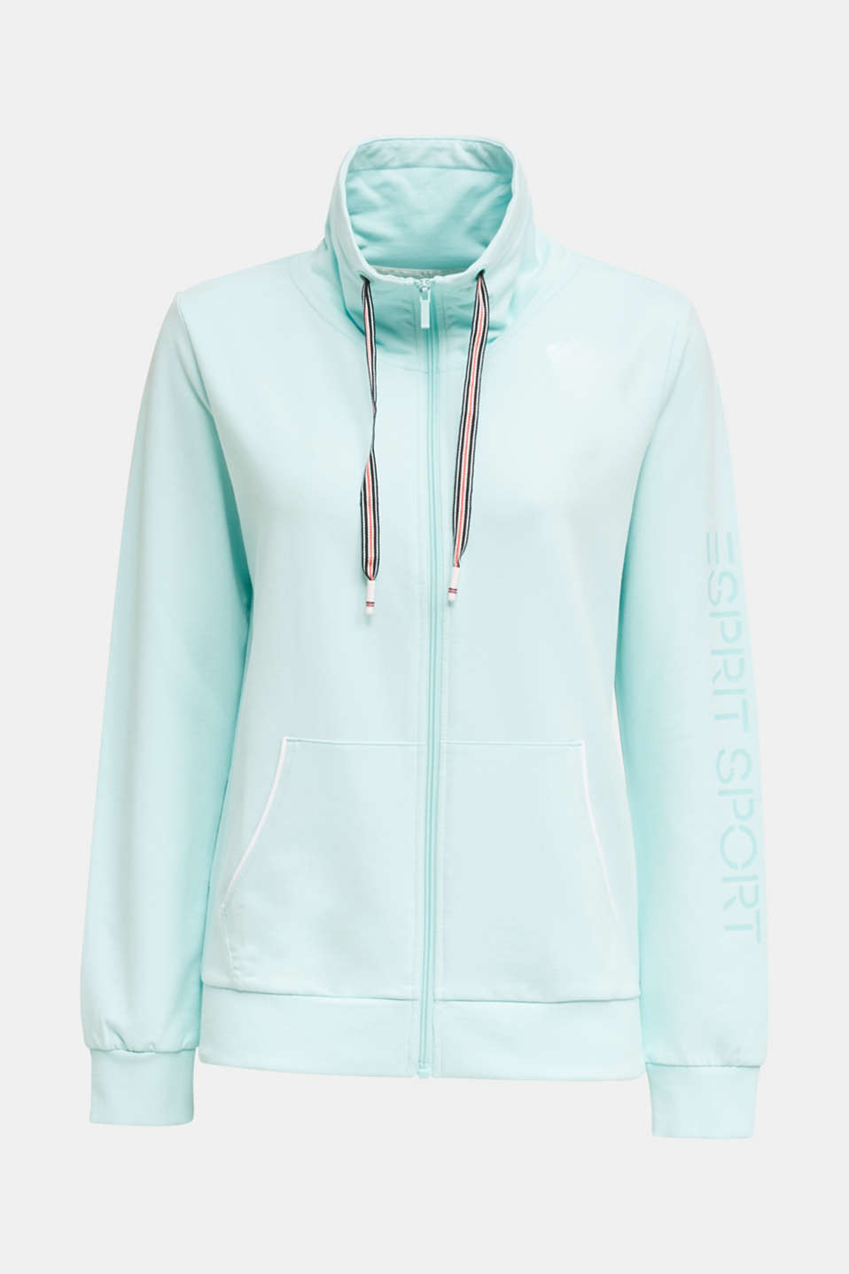 Sweatshirt fabric cardigan with a drawstring collar, TURQUOISE, detail image number 5