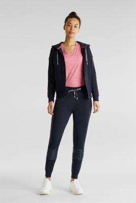 Sweatshirt fabric cardigan with nylon details, NAVY 2, detail