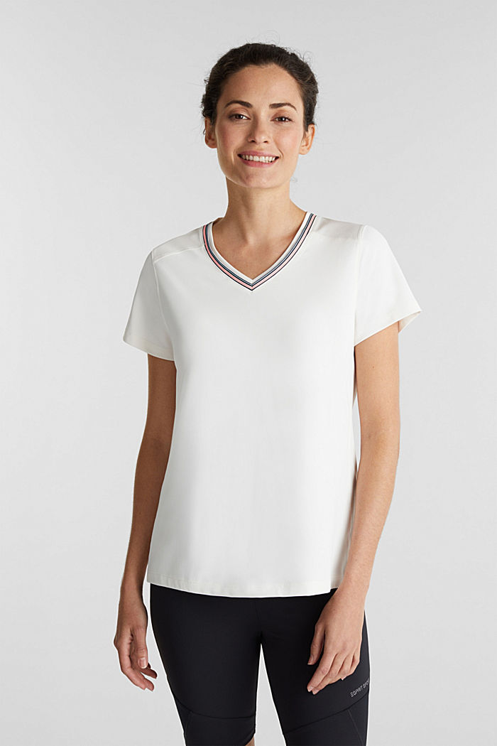 V-neck T-shirt with open-work pattern, E-DRY
