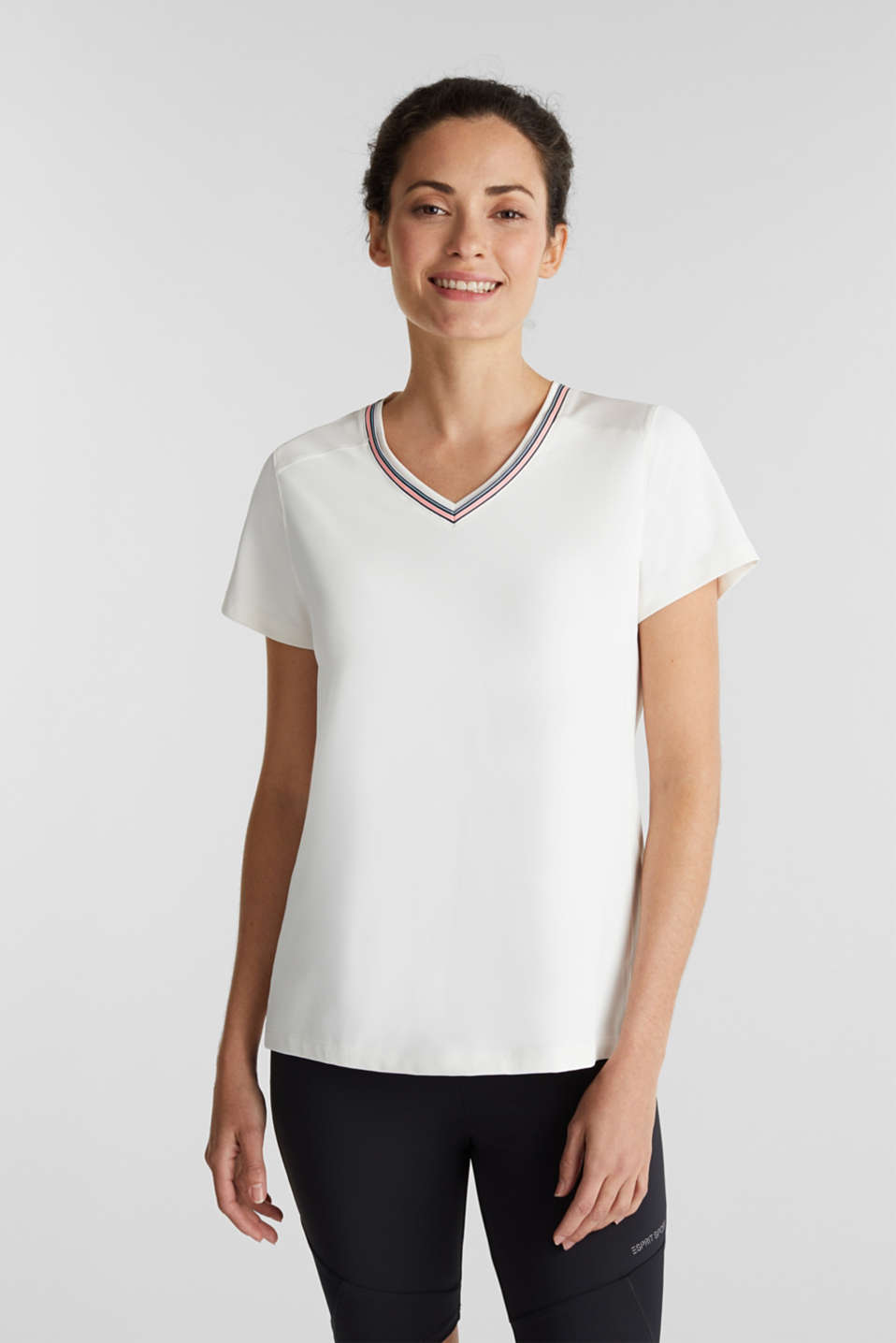 V-neck T-shirt with open-work pattern, E-DRY, OFF WHITE, detail image number 0