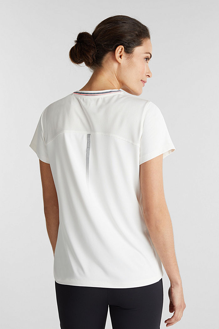 V-Neck-Shirt mit Lochmuster, E-DRY, OFF WHITE, detail image number 3