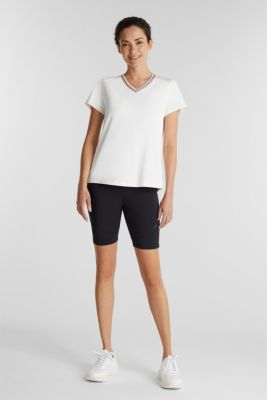 V-neck T-shirt with open-work pattern, E-DRY, OFF WHITE, detail