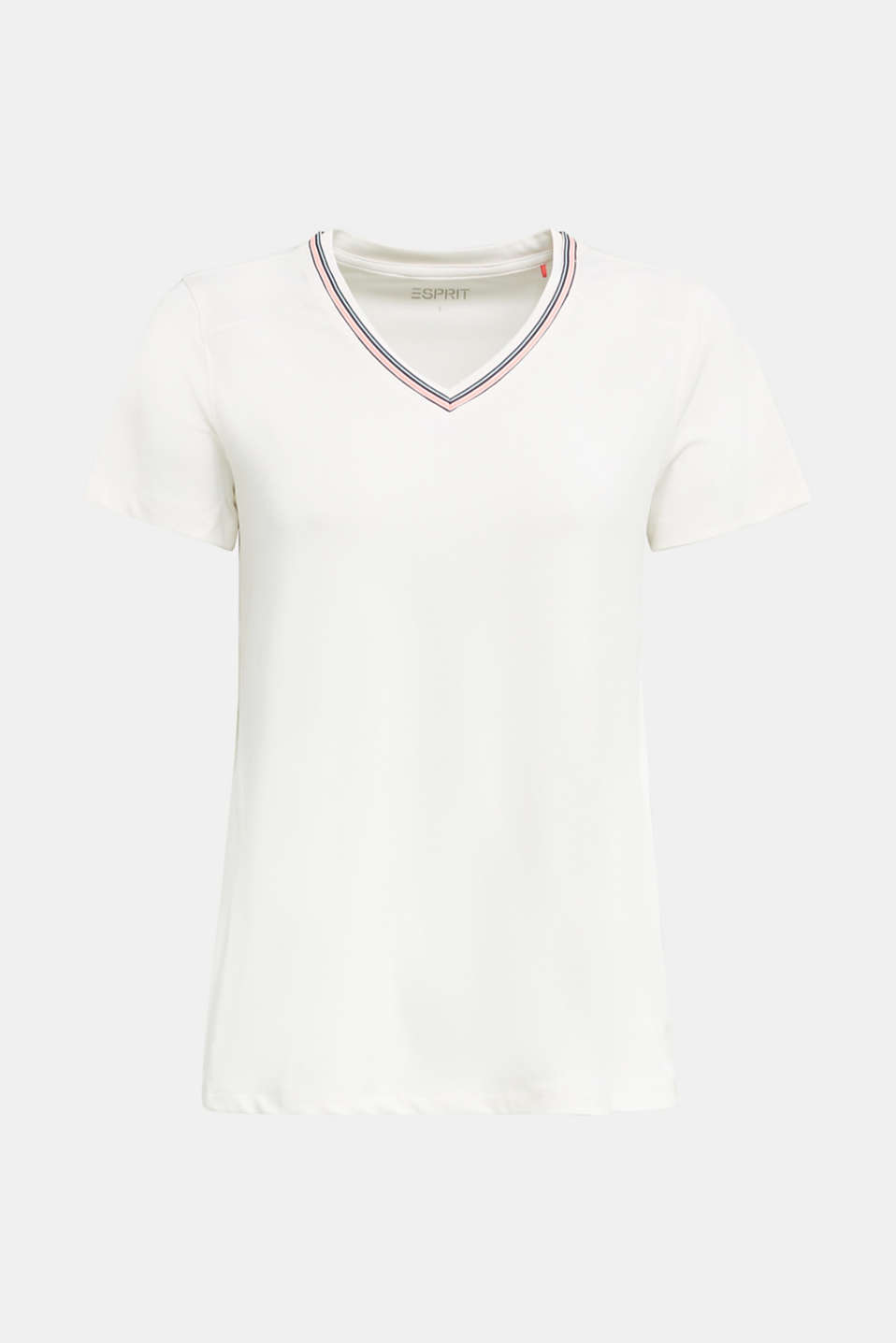 V-neck T-shirt with open-work pattern, E-DRY, OFF WHITE, detail image number 5