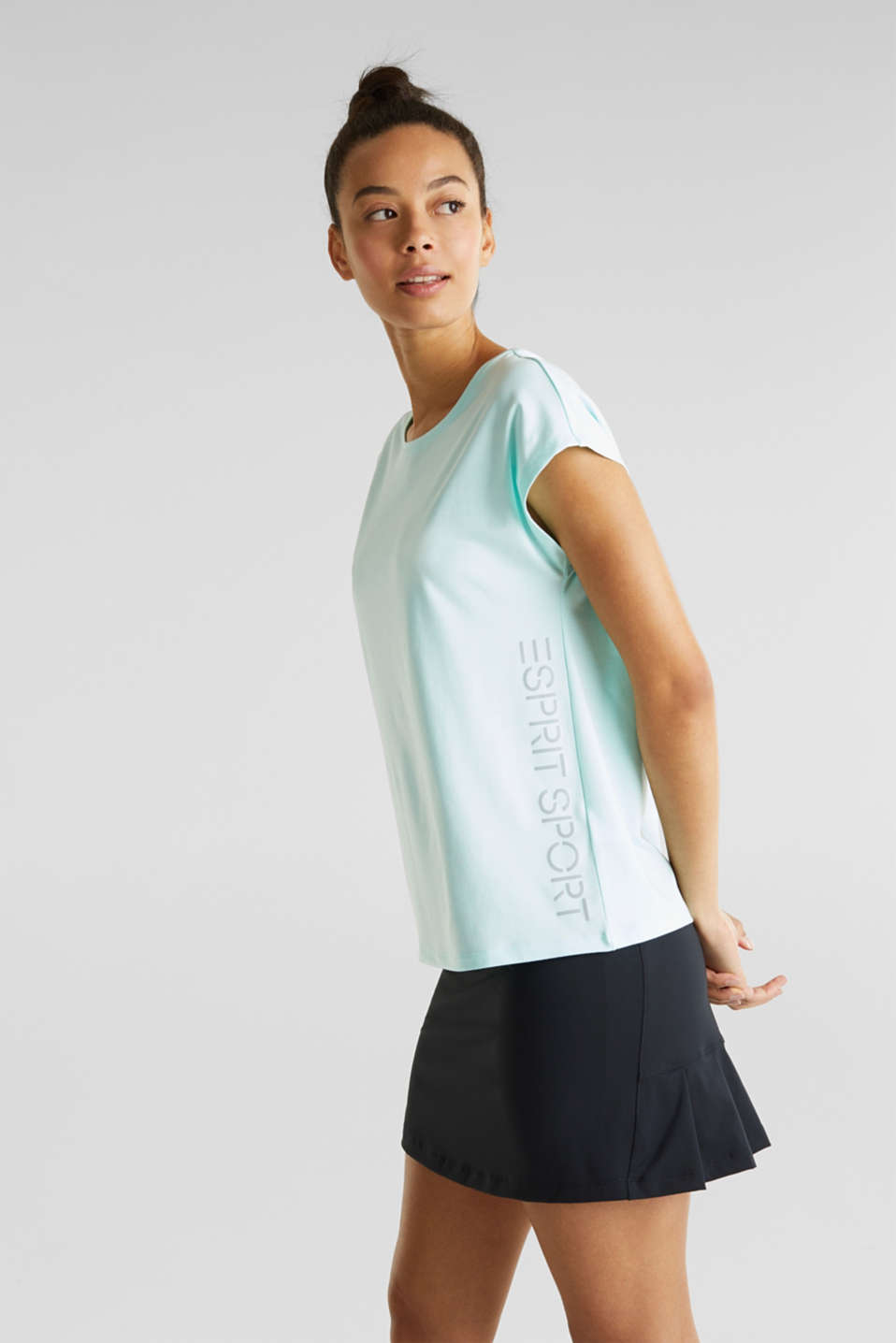Melange top with a logo print, E-DRY, TURQUOISE 2, detail image number 0