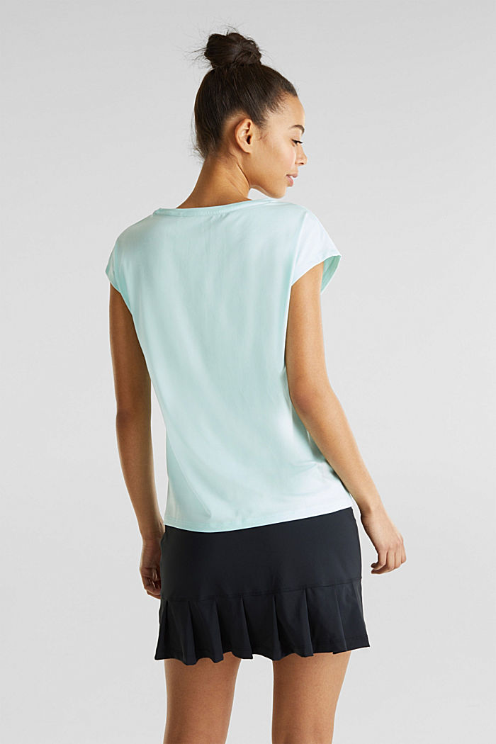 Melange top with a logo print, E-DRY, TURQUOISE, detail image number 1