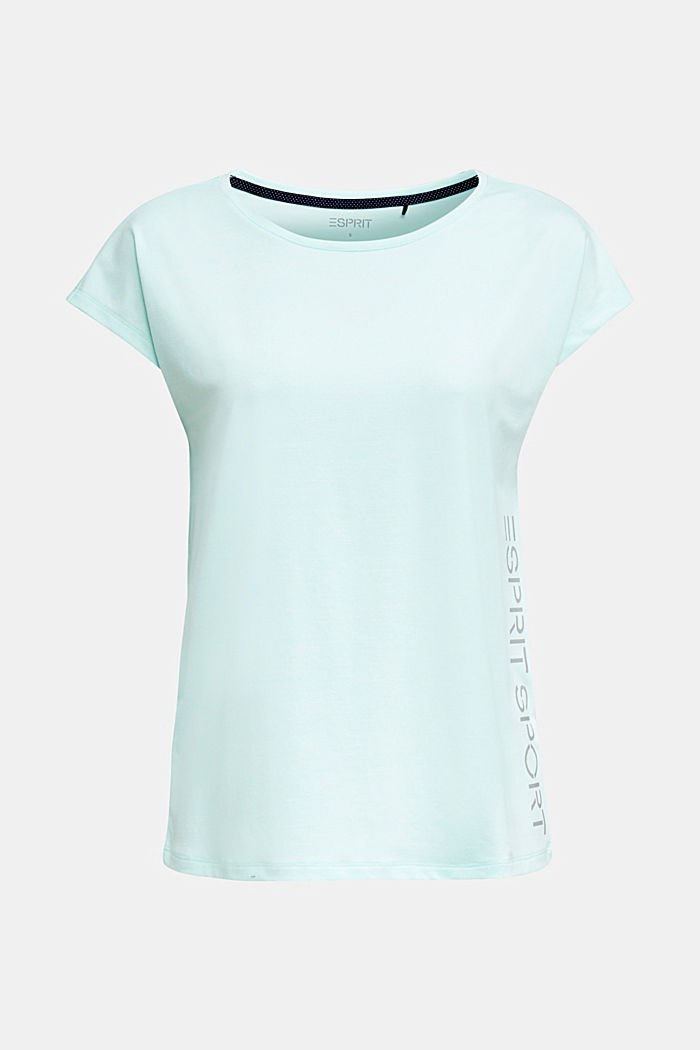 Melange top with a logo print, E-DRY, TURQUOISE, detail image number 3