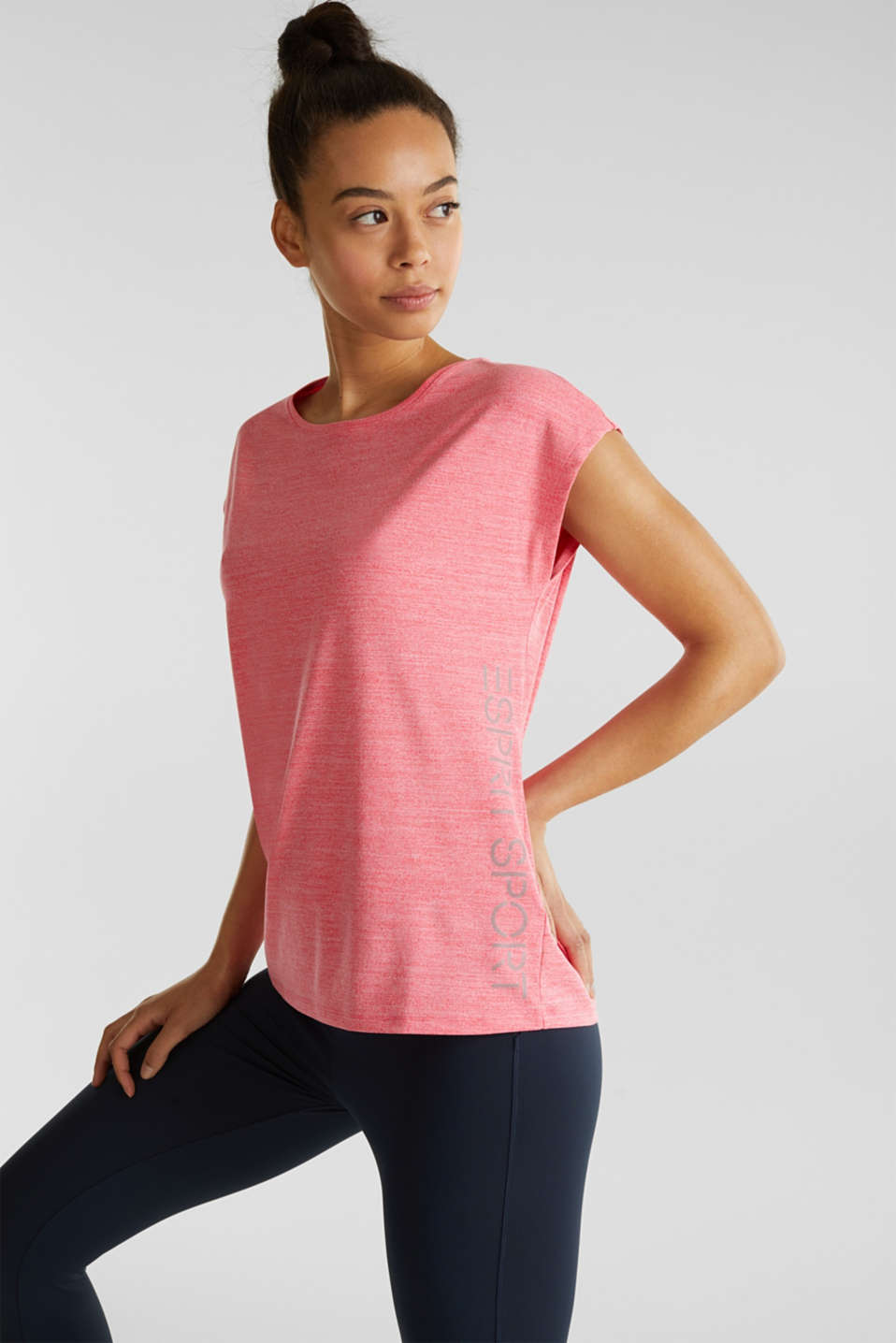 Esprit - Melange top with a logo print, E-DRY