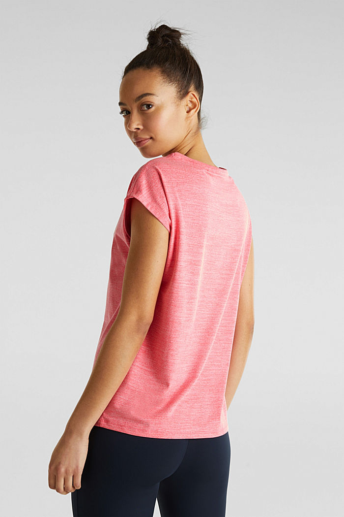 Melange top with a logo print, E-DRY, CORAL, detail image number 1