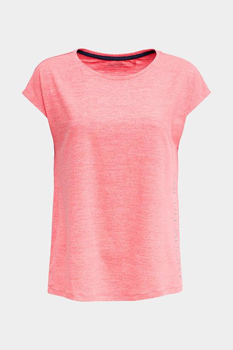 Melange top with a logo print, E-DRY