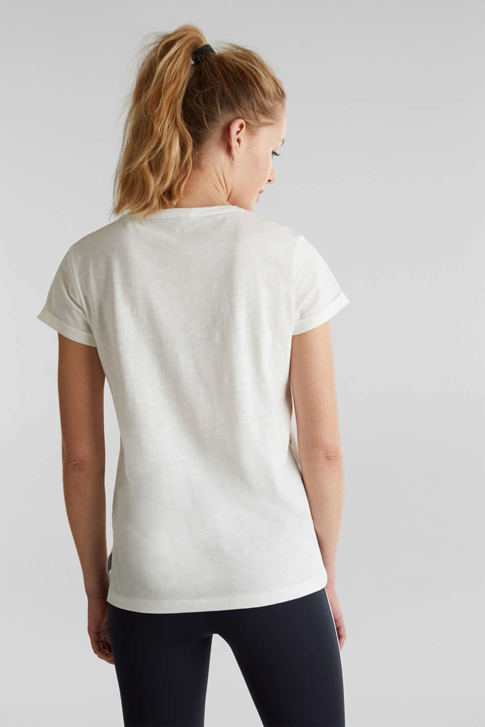 T-shirt with a print, 100% organic cotton, OFF WHITE, detail image number 3