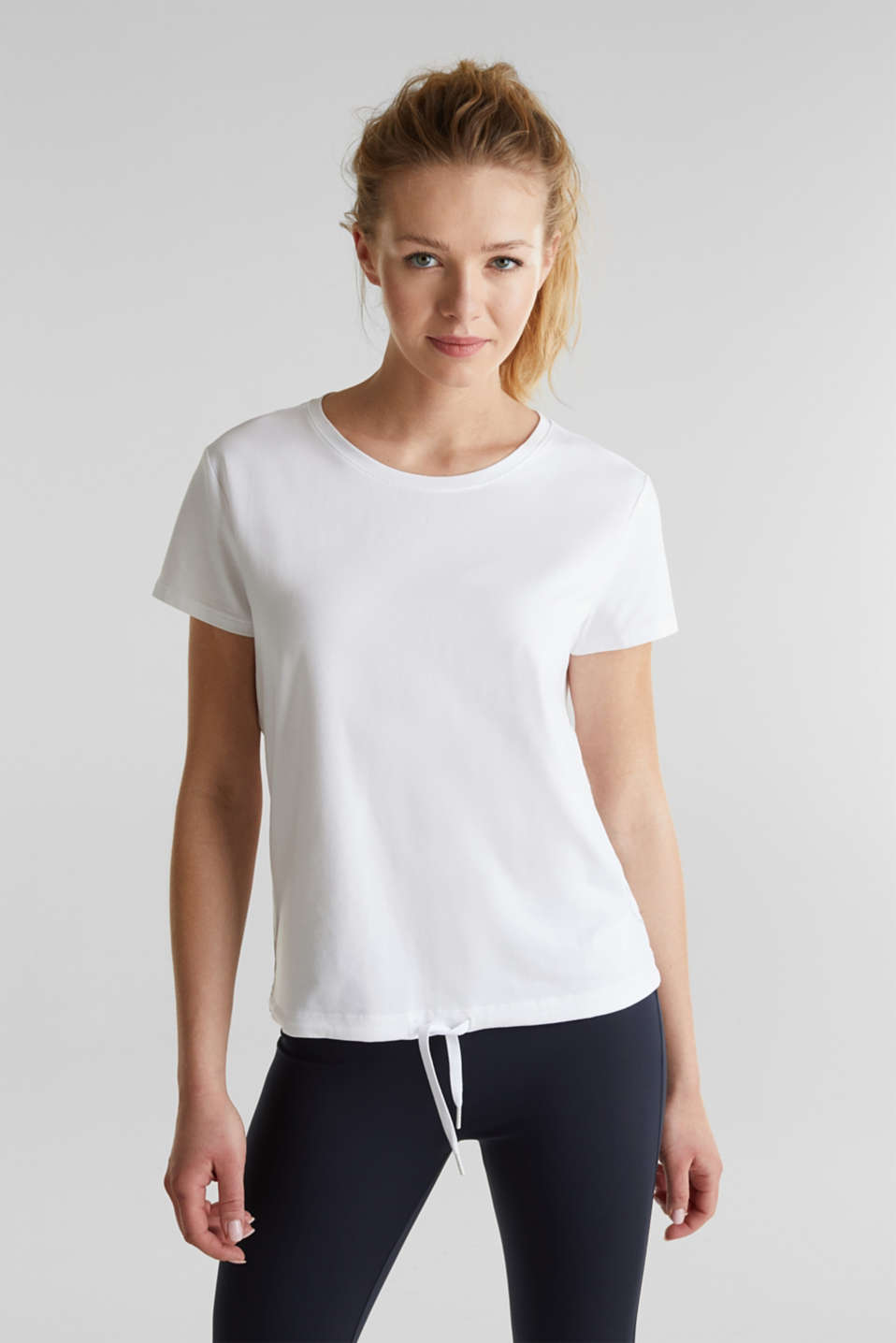 Esprit - Drawstring top with mesh insert