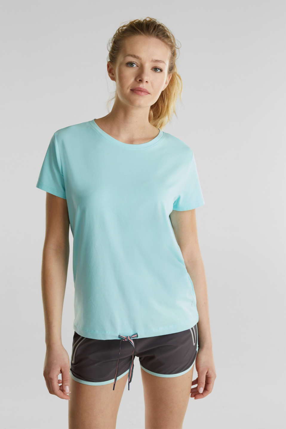 Drawstring top with mesh insert, TURQUOISE, detail image number 0