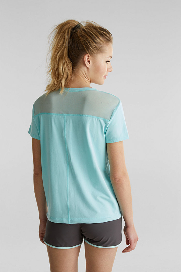 Drawstring top with mesh insert, TURQUOISE, detail image number 3