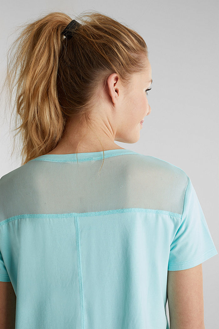 Drawstring top with mesh insert, TURQUOISE, detail image number 2