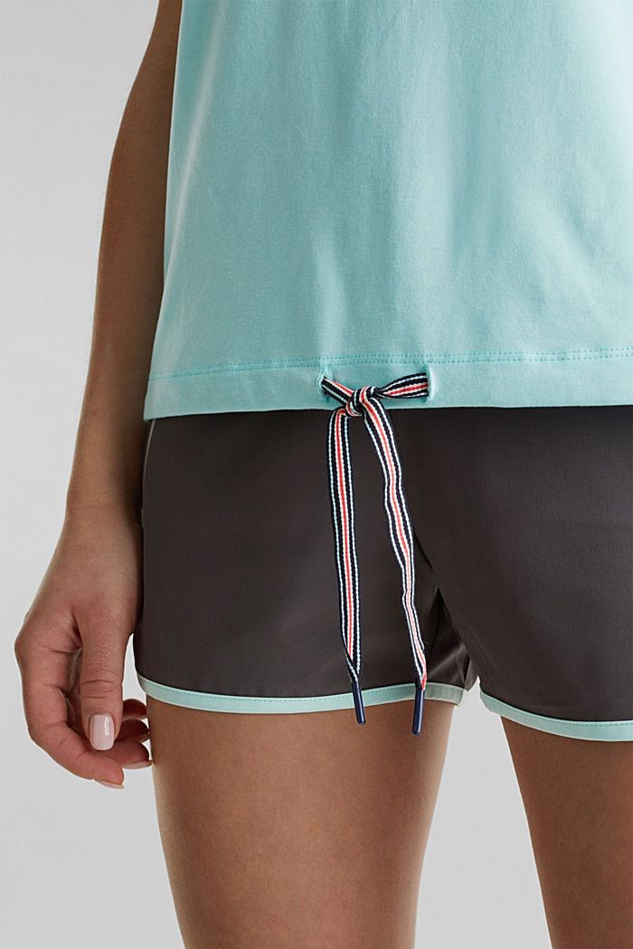 Drawstring top with mesh insert, TURQUOISE, detail image number 5